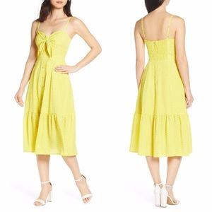 NEW Eliza J YELLOW Polka Dot Tie Front MIDI DRESS